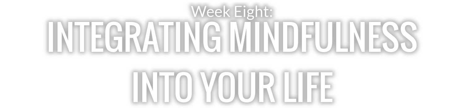 WEEK 8: INTEGRATING MINDFULNESS INTO YOUR LIFE